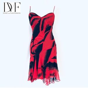 DVF 100% Silk Beaded Red and Black Dress 8 NWT